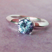 7mm Color Change Lab Sapphire Argentium Sterling Silver Ring, Cavalier Creations