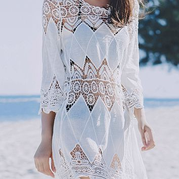 Streetstyle  Casual Round Neck See-Through Crochet Lace Plain Tunic