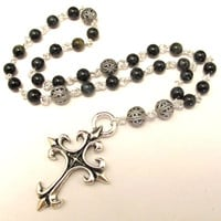 Anglican Prayer Beads with Fleur de Lis Cross and Blue Tiger Eye