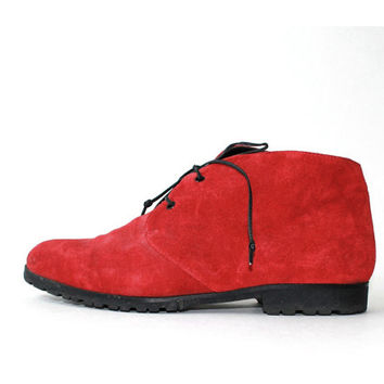SALE - 1980's Saks 5th Avenue Red Suede Chukka Oxfords Pixies Boots