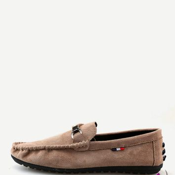 Men Seam Detail Suede Loafers