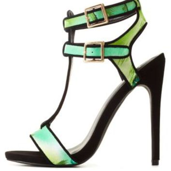 Privileged for CR Tropical Print T-Strap Heels
