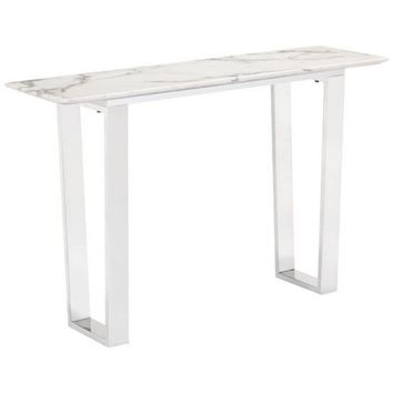 ZUO Modern Atlas Console Table Stone & Brushed Stainless Steel 100709 Living Coffee/Side/Consoles
