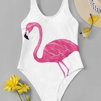 Flamingo Print Low Back One Piece Swimsuit