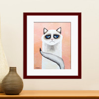 Pink Cat Art Print, Ragdoll Cat Wall Art, Pet Lover Gift, Funny Cat Nursery Art, Girl Room Decor, Signed Print