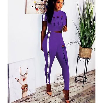 Champion Fashionable Woman Sexy Print Short Sleeve Crop Top Pants Set Two Piece Purple