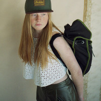 Black & Moss Heap Line Backpack - Handcrafted street style backpack - Vintage inspired retro bag