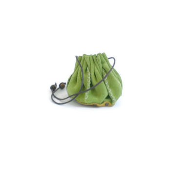 Coin Purse, Drawstring leather pouch,  Leather purse, green, yellow