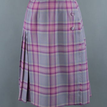 Vintage Wool Kilt / Plaid Kilted Skirt / Lavender Pink Tartan / 1980s Plaid Skirt / Highland Scotland Scottish / Surrey Classics / Large L