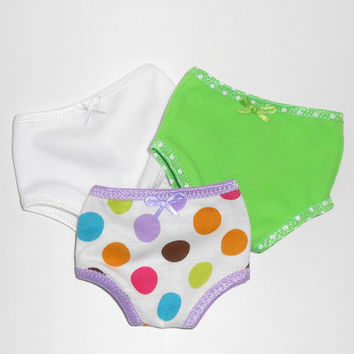 18 inch Doll 3 pair Knit Panties Green, White and Polka Dots fits American Girl Doll