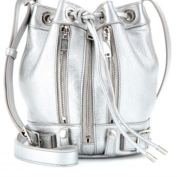 saint laurent - rider small bucket metallic-leather shoulder bag