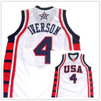 #8 Carmelo Anthony #4 Allen Iverson #12 Amare Stoudemire Team USA Basketball Jersey Vince Carter,Retro Men's Throwback Embroider