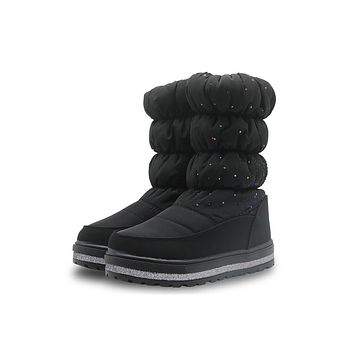 New Winter Children Shoes Girls Snow Boots with Rhinestone Warm Woolen Lining Waterproof Non-slip Plush Boots for Girls