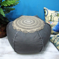 Hippie Bohem Gray Canvas Ottoman Pouf Case /Casual Shabby Housewarming Gift/Home Decor-18inch/20inch/24inch