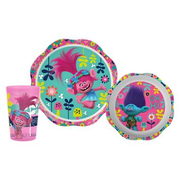 Trolls Zak Designs 3pc Kids Dinnerware Set