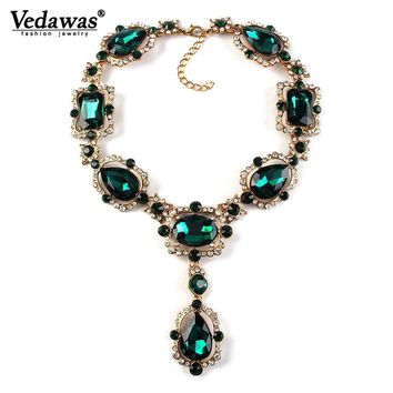 Vedawas Luxury Women Fashion Rhinestone Beads Statement Necklace Jewelry Crystal Collar Pendant Choker Necklace for Women XG1415