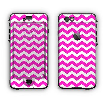 The Pink & White Chevron Pattern Apple iPhone 6 Plus LifeProof Nuud Case Skin Set