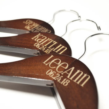 Personalized Mahogany Wood Engraved Wedding Dress Hanger, Custom Bridal Hanger, Bridesmaid Hanger Favor