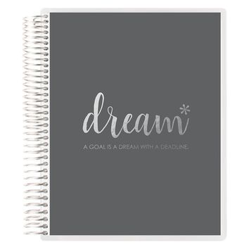"Erin Condren Lined 7"" x 9"" Spiral Notebook, Metallic Silver Dream, Silver (AMA-NBM 1802)"