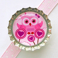 Pink Owl Bottle Cap Magnet, girl owl decor, pink owl baby shower favor, owl birthday party favor, owl magnet, owl theme party supplies