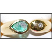 Diamond 18K Yellow Gold Jewelry Solitaire Emerald Ring [RS0198]