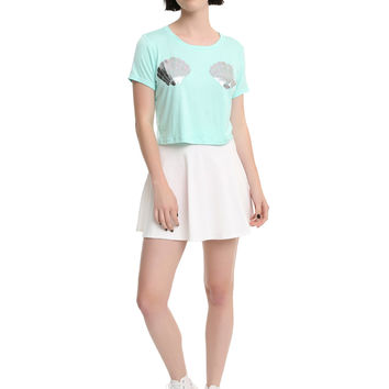 Mint Oil Wash Seashell Girls Crop Top