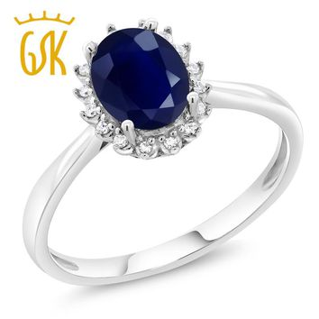 GemStoneKing 10K White Gold Fine Jewelry 1.79 Ct Oval Natural Blue Sapphire Diamonds Engagement Ring For Women