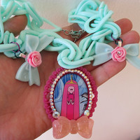 Adventure Time Necklace - PRINCESS BUBBLEGUM / Princess Bonnibel Bubblegum - Fairy Kei, Pastel Goth