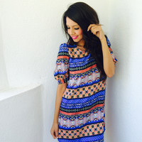 Lucia Aztec Dress- Blue