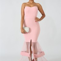 Vivian Sleeveless Mesh Maxi Dress - Pink
