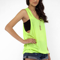 Chip Off Your Shoulder Tank in Neon Yellow :: tobi