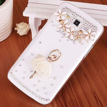 Luxury 3D Ballet Girl bling Crystal Mobile phone Shell skin Back Cover PC Hard Case For Samsung Galaxy core 2 core2 G355H G355