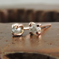 14k Rose Gold Uncut Diamond Studs, Rough Diamond Earrings, Diamond Studs, Raw Diamond Earrings, Rose Gold Earrings