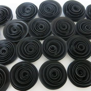 "24 loose black paper flowers set 50th birthday party table scatter decoration, confetti centerpiece for retirement wedding decor 1.5"" buds"