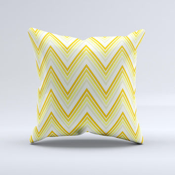 Sharp Vintage Yellow Chevron Ink-Fuzed Decorative Throw Pillow