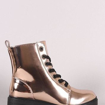 DCK7YE Qupid Metallic Patent Combat Lace-Up Ankle Boots