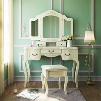 Vintage White Bedroom Vanity Makeup Desk with Stool and Mirror
