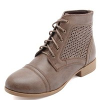 Laser-Cut Eyelet Combat Boots by Charlotte Russe - Cognac
