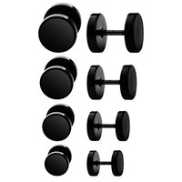 BodyJ4You 8PCS Black Screw Stud Earrings Set Surgical Steel Fake Plugs Illusion Cheater Faux Gauges