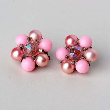 Vintage Pink Cluster Clip On Earrings Marked JAPAN