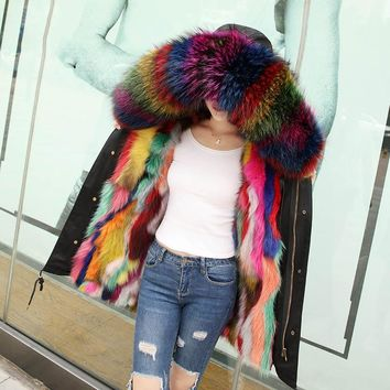Real fox fur liner parkas women's rainbow raccoon fur collar hooded fur coats outerwear 2018 autumn winter
