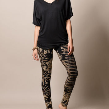 Natural Black Tie Dye Leggings
