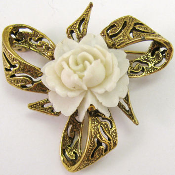 Carved Rose Gold Tone Brooch Costume Flower Jewelry Ribbon Bow Metal Estate Pin