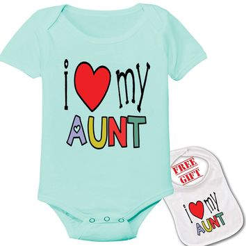 """"""" I Love My  Aunt """" Family theme Onesuit & bib (Available in 5 Colors)"""