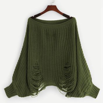 Dolman Sleeve Ripped Off Shoulder Sweater