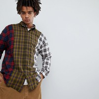 Mennace Spliced Checked Shirt In Yellow at asos.com