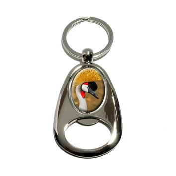 Gray Grey Crowned Crane Bird Spinning Oval Bottle Opener Keychain