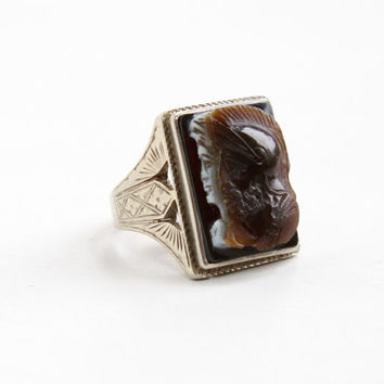 Antique 10k White Gold Cameo Ring- Vintage 1920s Art Deco Brown, White, & Black Sardonyx Roman Warrior Soldier Size 8 1/4 Men's Fine Jewelry