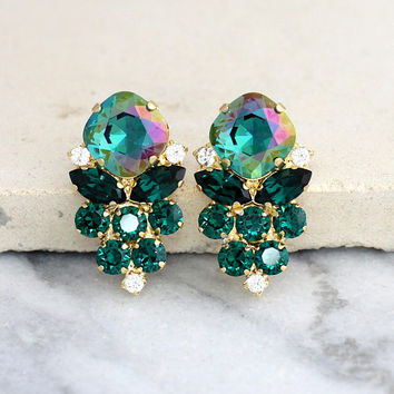 Emerald Earrings, Emerald Green Earrings, Emerald Crystal Earrings, Christmas Gift, Bridal Emerald Custer Earrings, Swarovski Emerald Studs