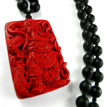 Chinese God of War, Mens Beaded Necklace, Guan Yu Carved Red Cinnabar Pendant Mens Pendant Black Onyx Buddhist Talisman Necklace Japanese